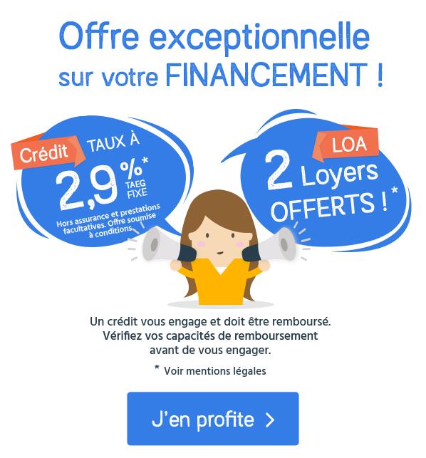 Financement auto : taux à 2,9% pour le crédit ou 2 loyers offerts pour la LOA